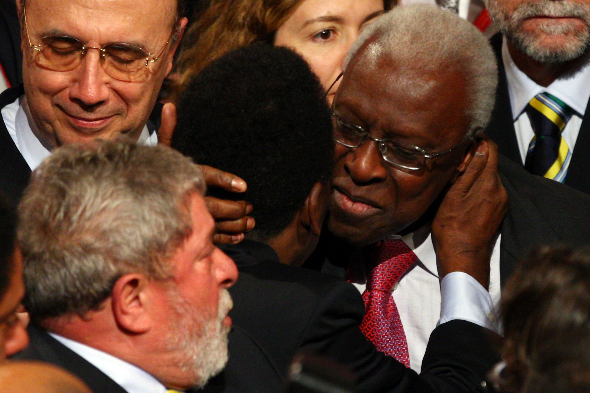 Then IAAF President Lamine Diack hugs Pelé after Rio de Janeiro were awarded the 2016 Olympic and Paralympic Games at the IOC Session in Copenhagen in 2009 ©Getty Images