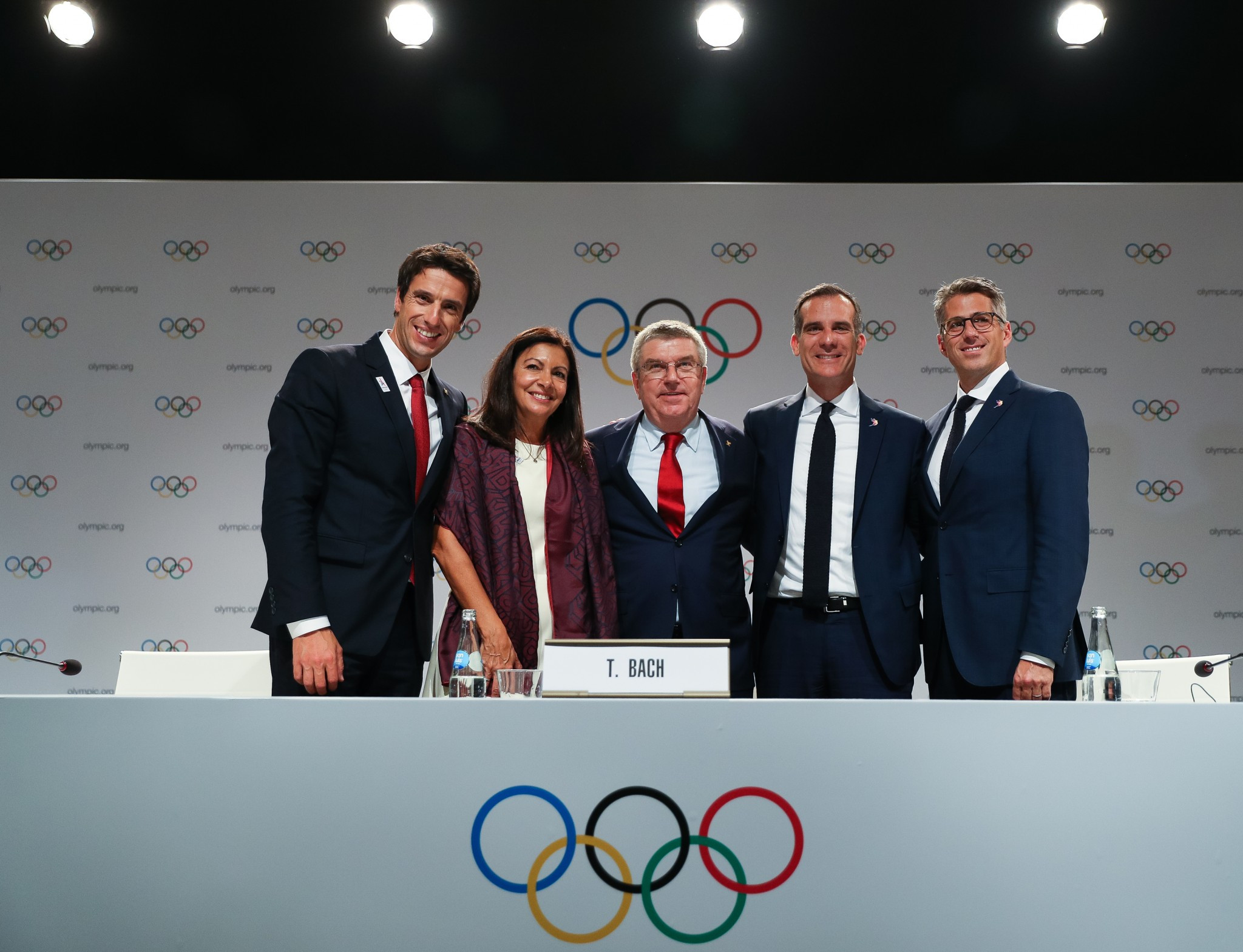 IOC President Thomas Bach hailed a historic day after the double award was confirmed ©Getty Images