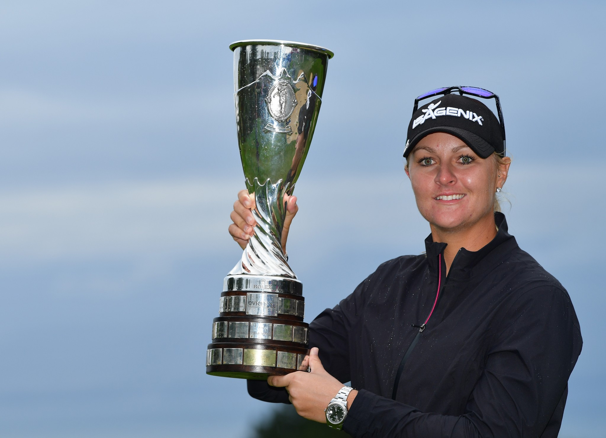 Sweden's Anna Nordqvist shows off the Evian Championship she won in a first-hole play-off today ©Getty Images