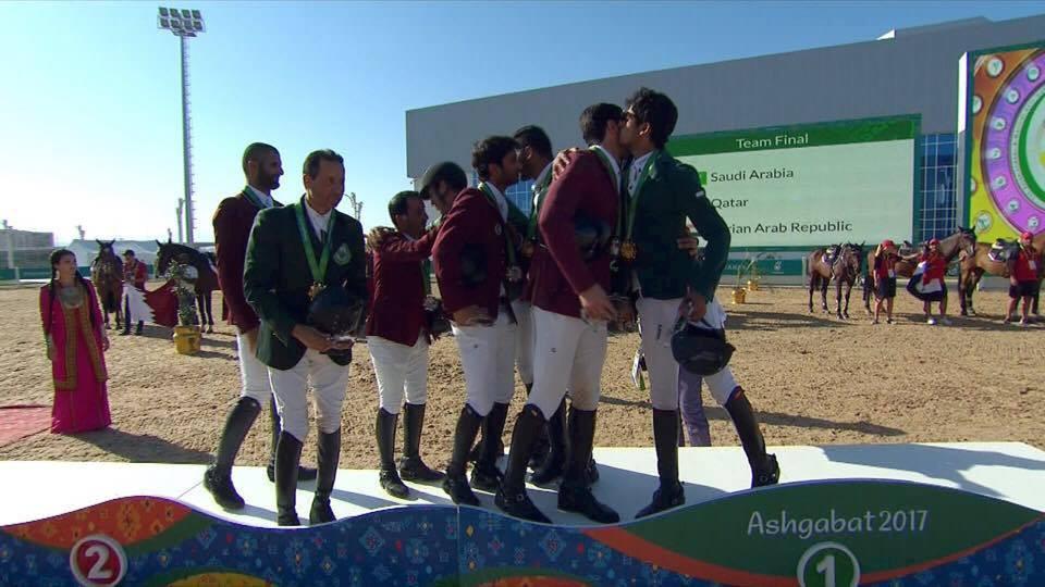 Saudi Arabia and Qatar embraced on the podium ©OCA