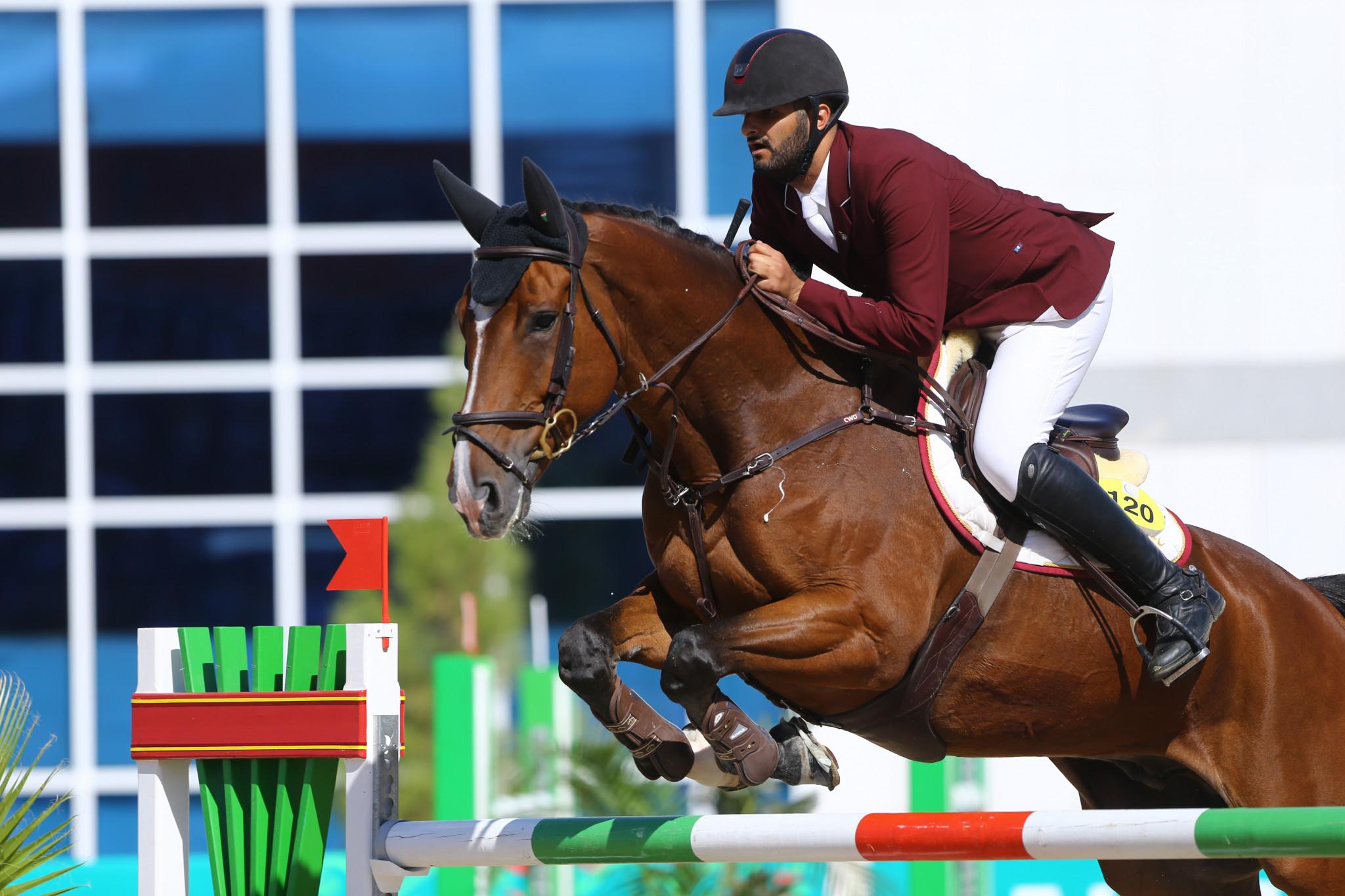 Qatar's Hamad Ali M A Al Attiayah claimed the Ashgabat 2017 individual equestrian jumping title today ©Ashgabat 2017/Lazaros Koukorikos/LAUREL Photo Services