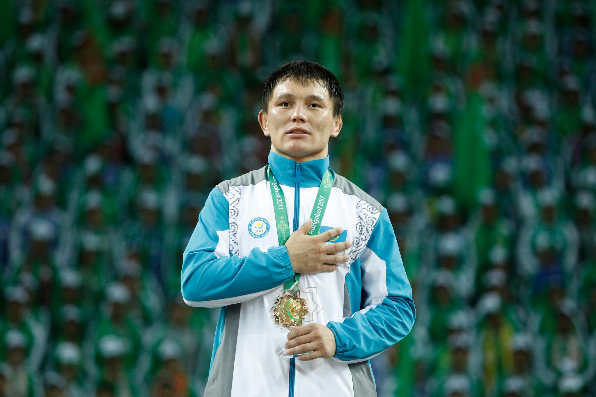 Kazakhstan's Daniyar Kalenov secured the men's under 66kg Greco-Roman wrestling gold medal ©Ashgabat 2017/Konstantinos Tsakalidis/Laurel Photo Services