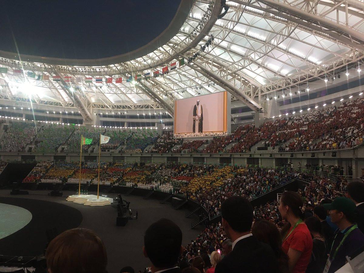 OCA President Sheikh Ahmad Al-Fahad Al-Sabah delivered a speech as part of the Ashgabat 2017 Closing Ceremony ©Uwimanaclarisse/Twitter