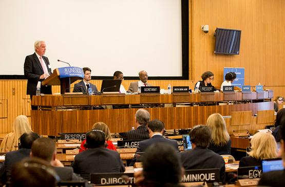 WADA President Sir Craig Reedie pictured speaking at the UNESCO meeting ©UNESCO/Christelle Alix