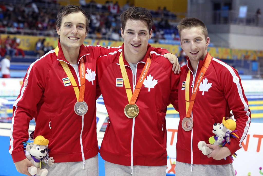 James Leroux led home a Canadian clean sweep in the men's 100m breaststroke final