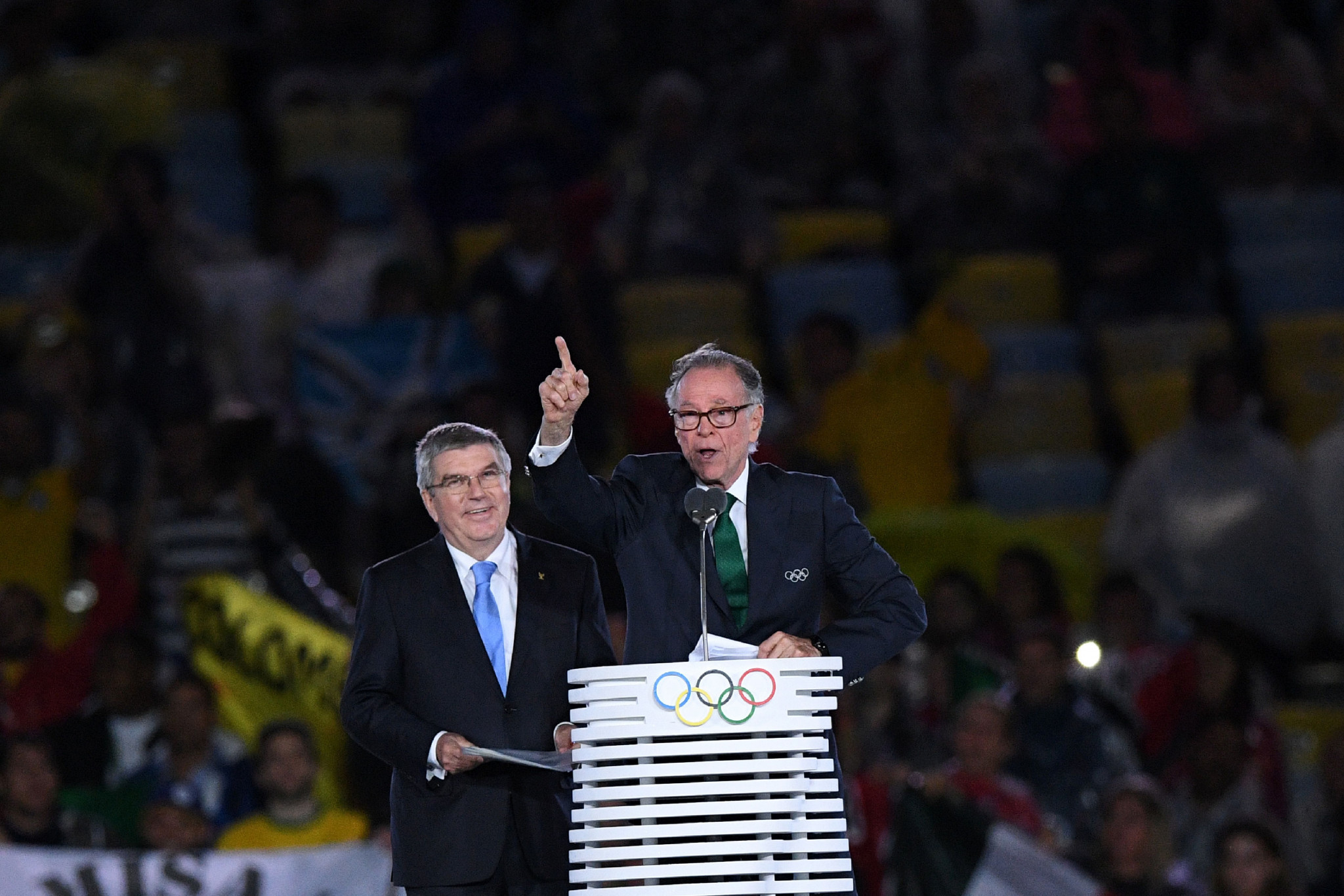 Carlos Nuzman, right, pictured with IOC President Thomas Bach at the Closing Ceremony of last year's Olympics ©Getty Images