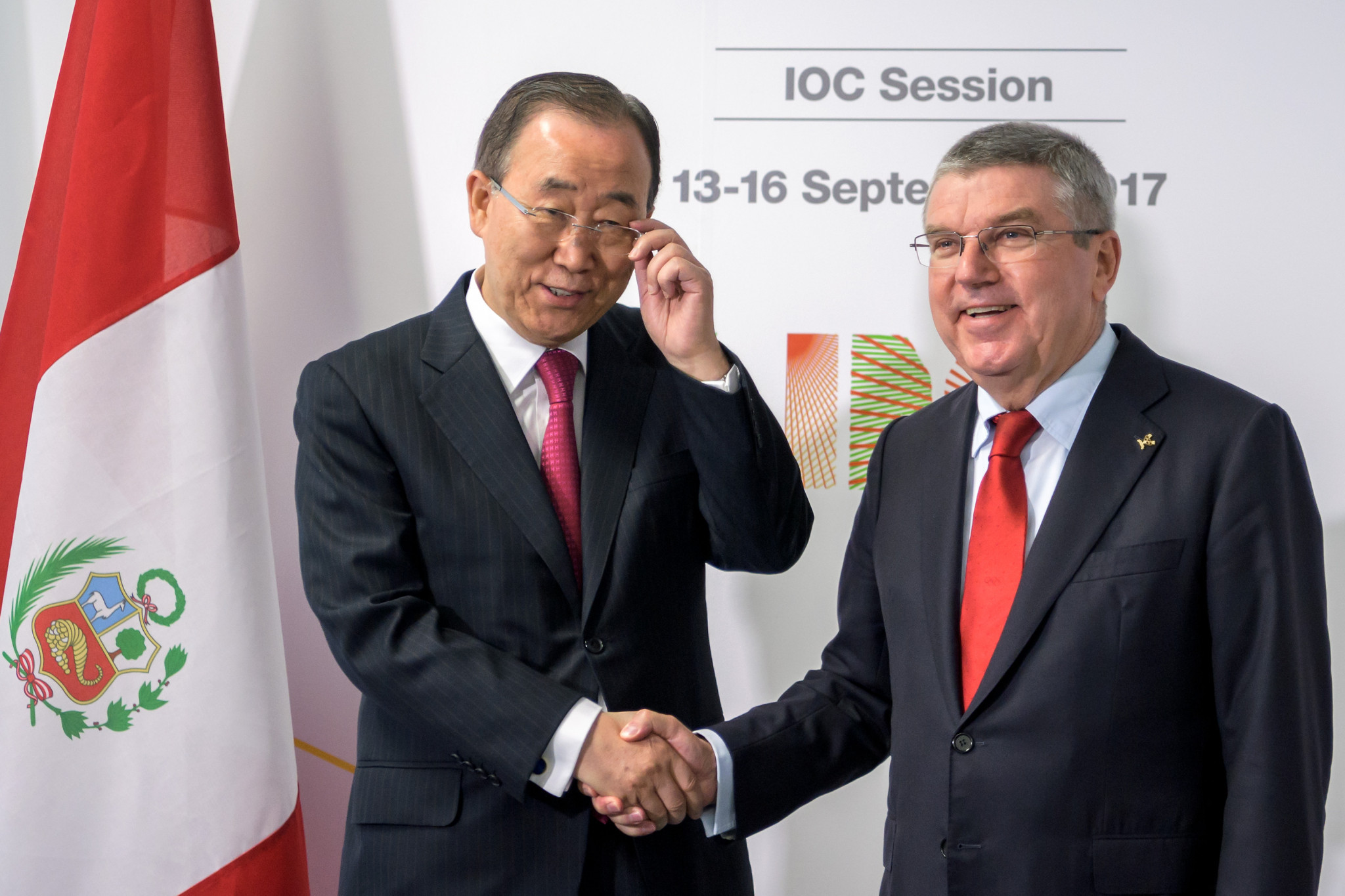 Ban Ki-moon, left, pictured with IOC President Thomas Bach, is the new chair of the IOC Ethics Commission ©Getty Images