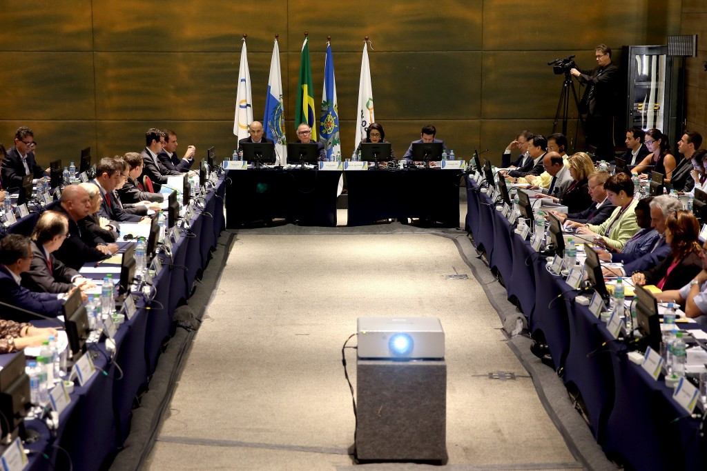 Rio 2016 officials on the left of the room face IOC Coordination Commission members for the plenary session of the inspection visit today ©Getty Images