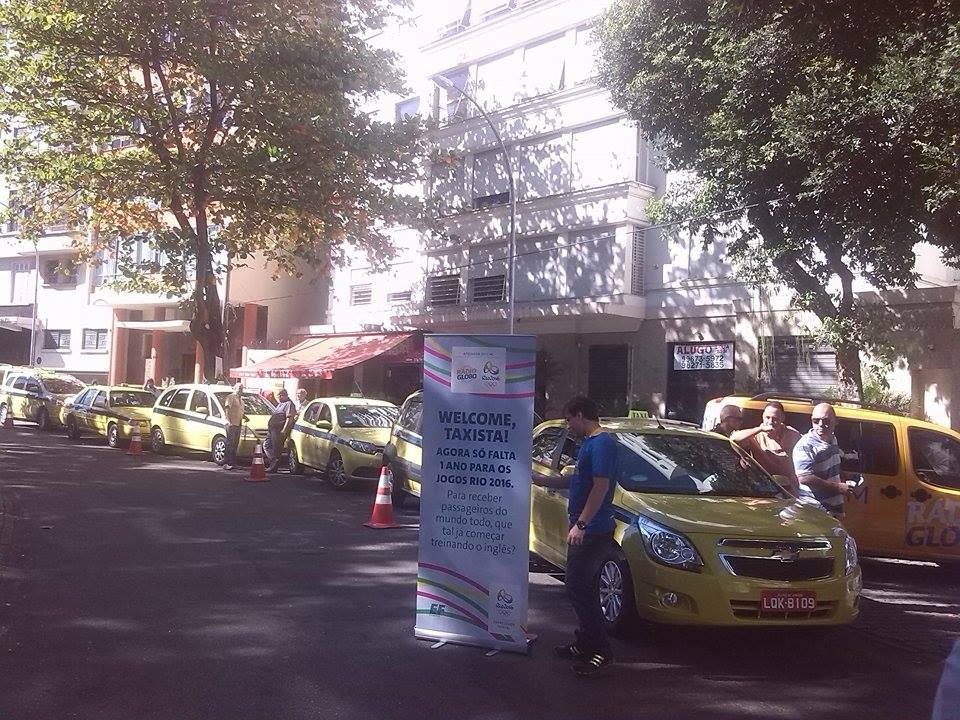 Taxi-drivers queuing today to sign-up for the English language courses ©ITG