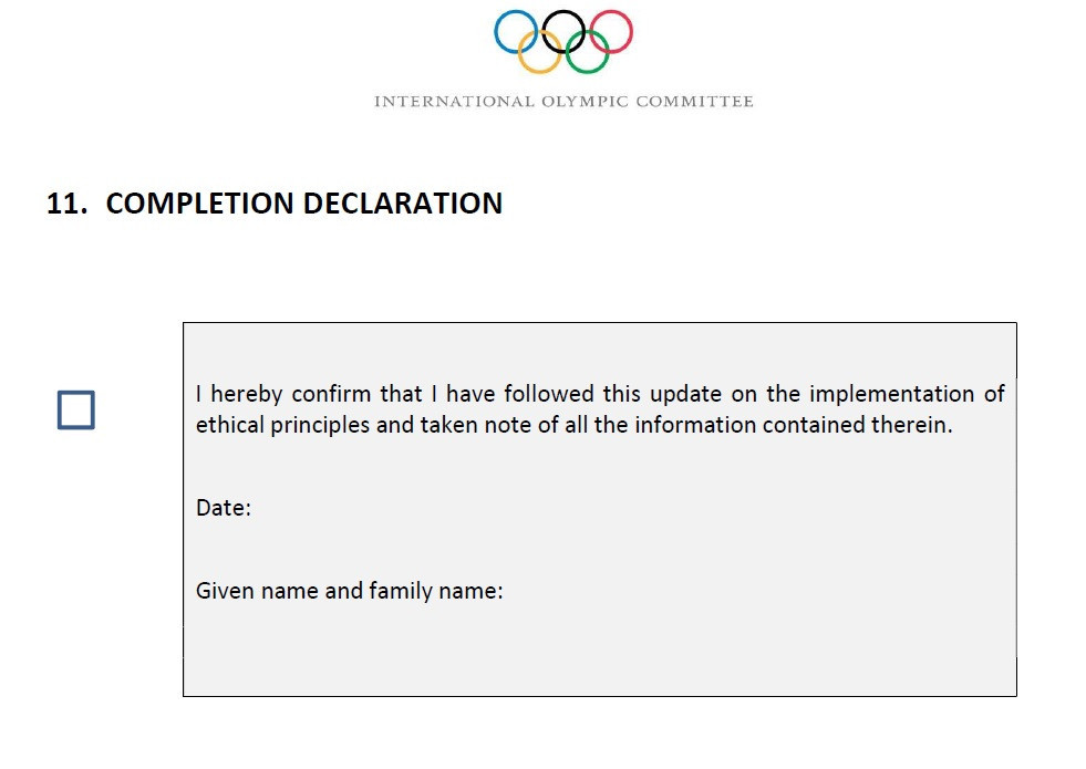 IOC members must sign the new ethical procedures document ©IOC