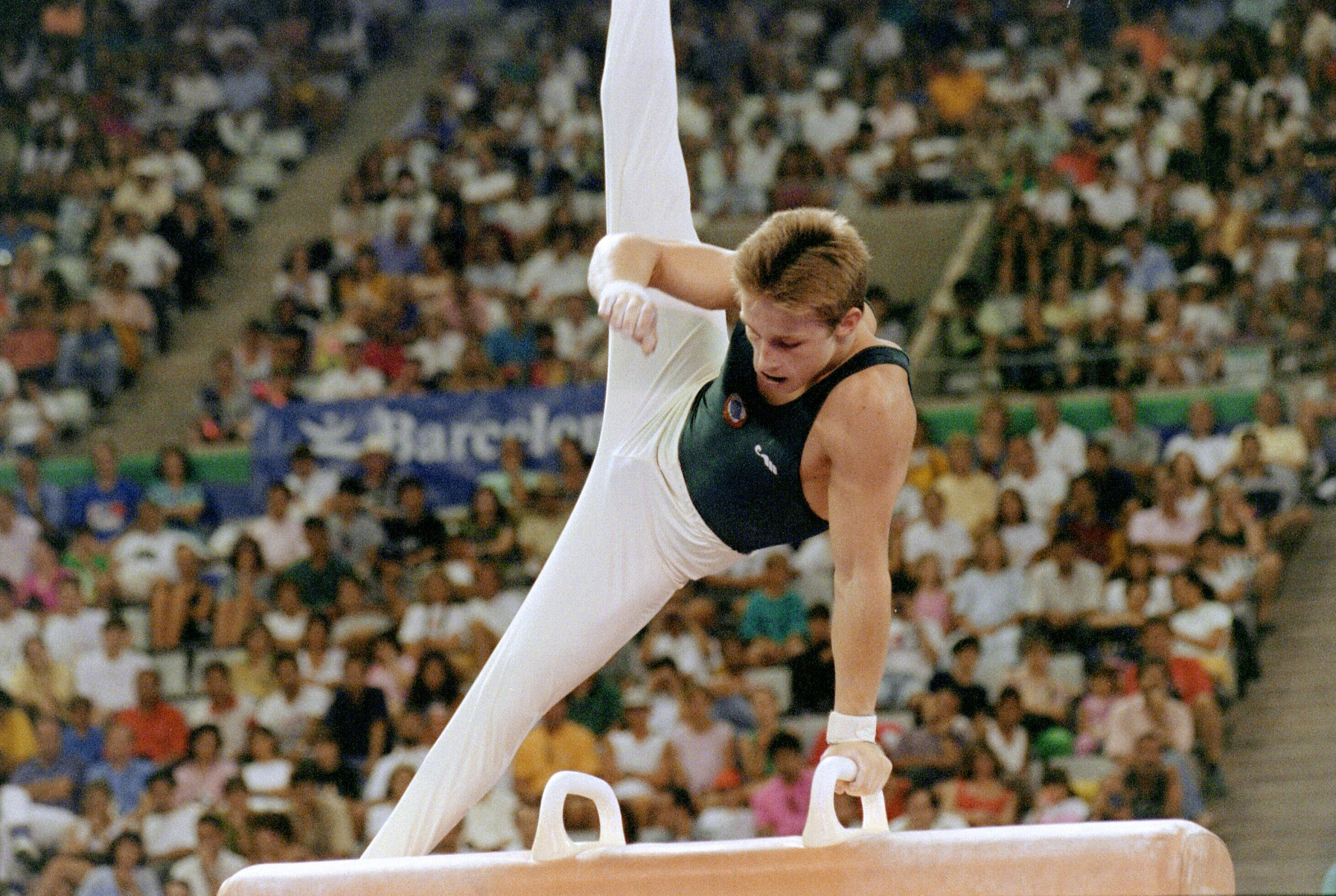 Vitaly Scherbo pictured competing on the pommel horse at Barcelona 1992 ©Getty Images