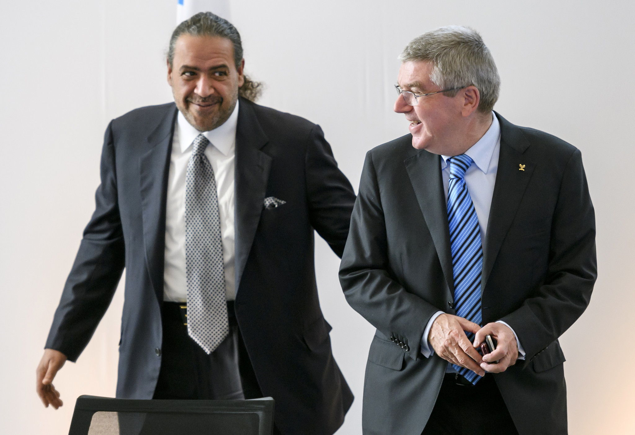 Kuwait's Sheikh Ahmad Al-Fahad Al-Sabah, left, pictured with IOC President Thomas Bach, was among those attending the Olympic Summit in Lausanne today ©Getty Images