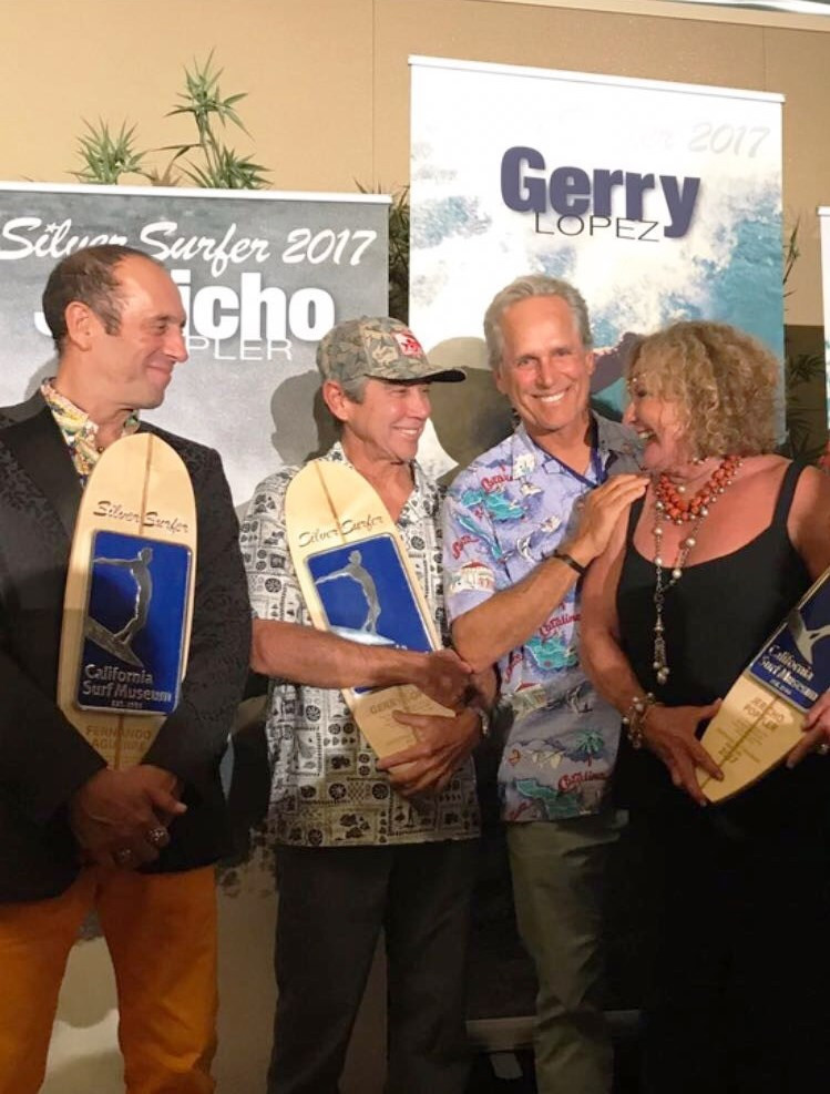 ISA President Fernando Aguerre joins Gerry Lopez and Jericho Poppler with their Silver Surfer Awards at the 10th Annual Gala Fundraiser of the California Surf Museum ©ISA