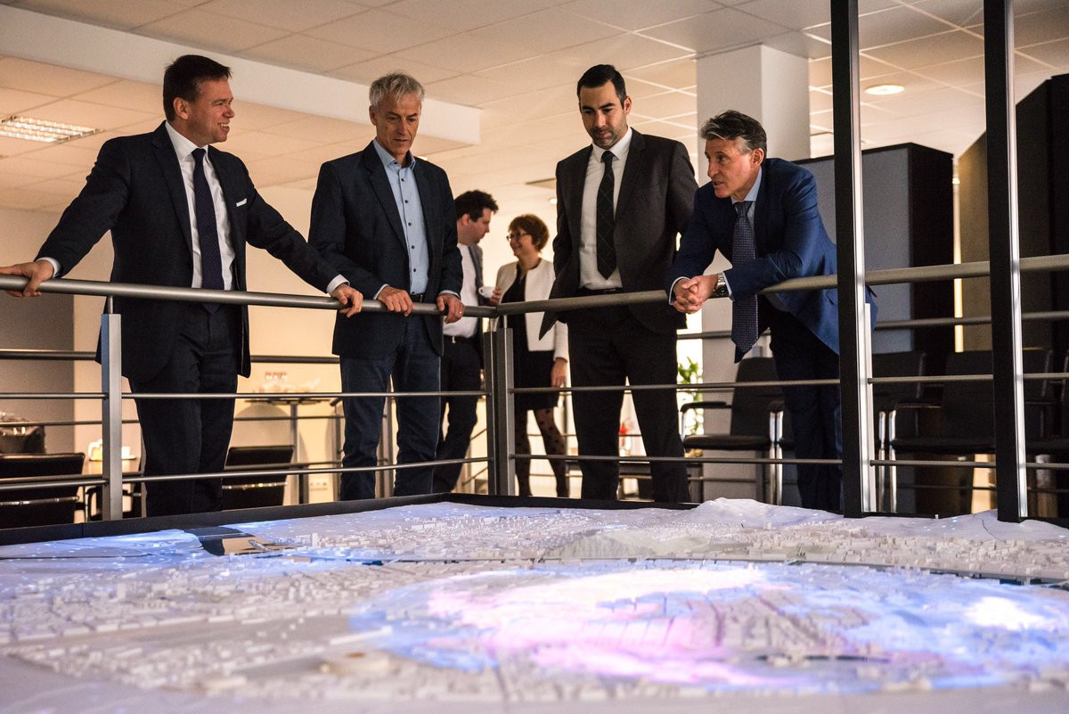 A large scale digital model was shown to Sebastian Coe, right, by Hungarian Government Commissioner Balázs Fürjes, left, to demonstrate Budapest's proposed bid for the 2023 IAAF World Championships ©Twitter