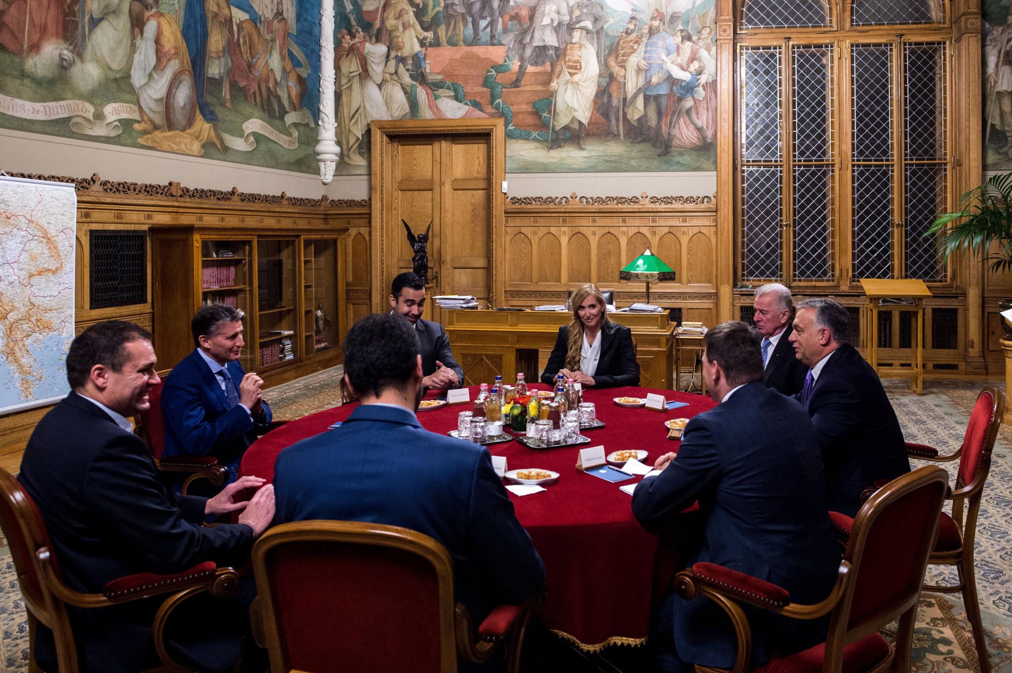 Sebastian Coe met a high-level delegation in Budapest, including Hungarian Prime Minister Viktor Orbán ©Hungarian Government
