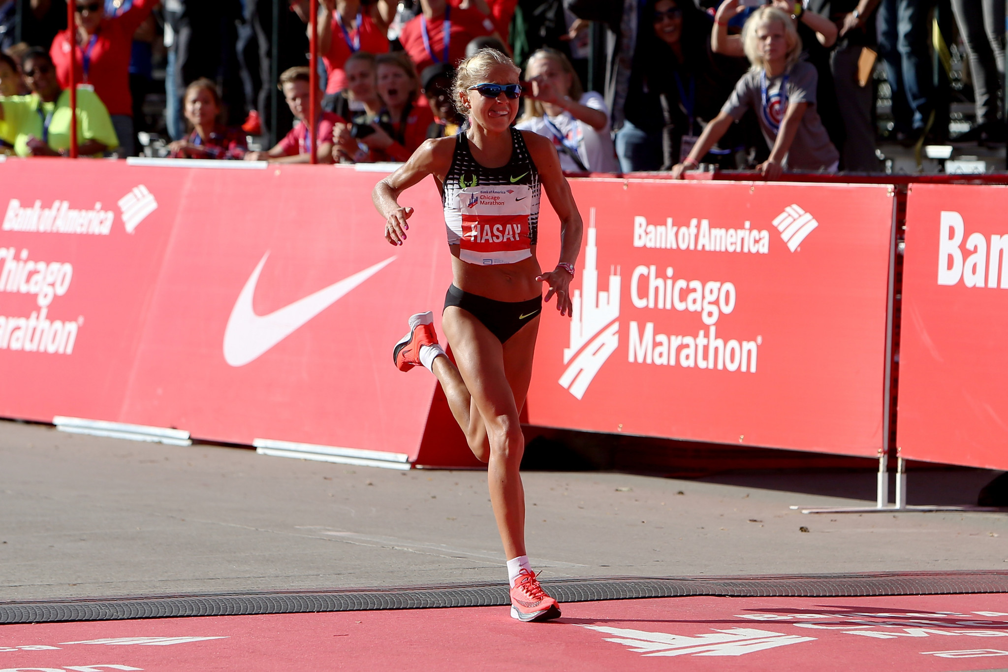 Jordan Hasay of the United States, seen here finishing with a time of 2:20:57 during the Bank of America Chicago Marathon on October 8, 2017 in Chicago, Illinois, is among the October nominees for the Team USA awards ©Getty Images