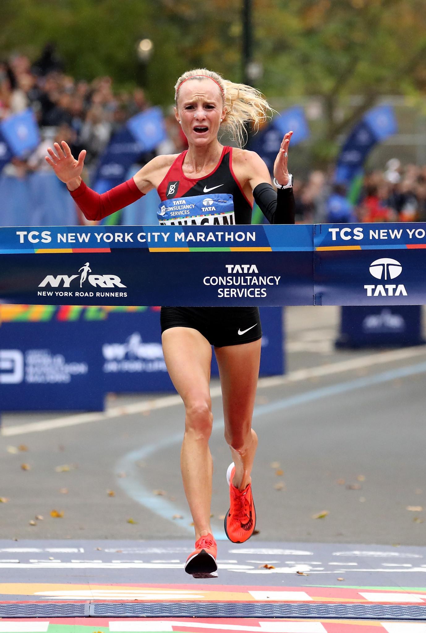Shalane Flanagan, of the United States, celebrates winning the 2017 New York City Marathon ©Getty Images
