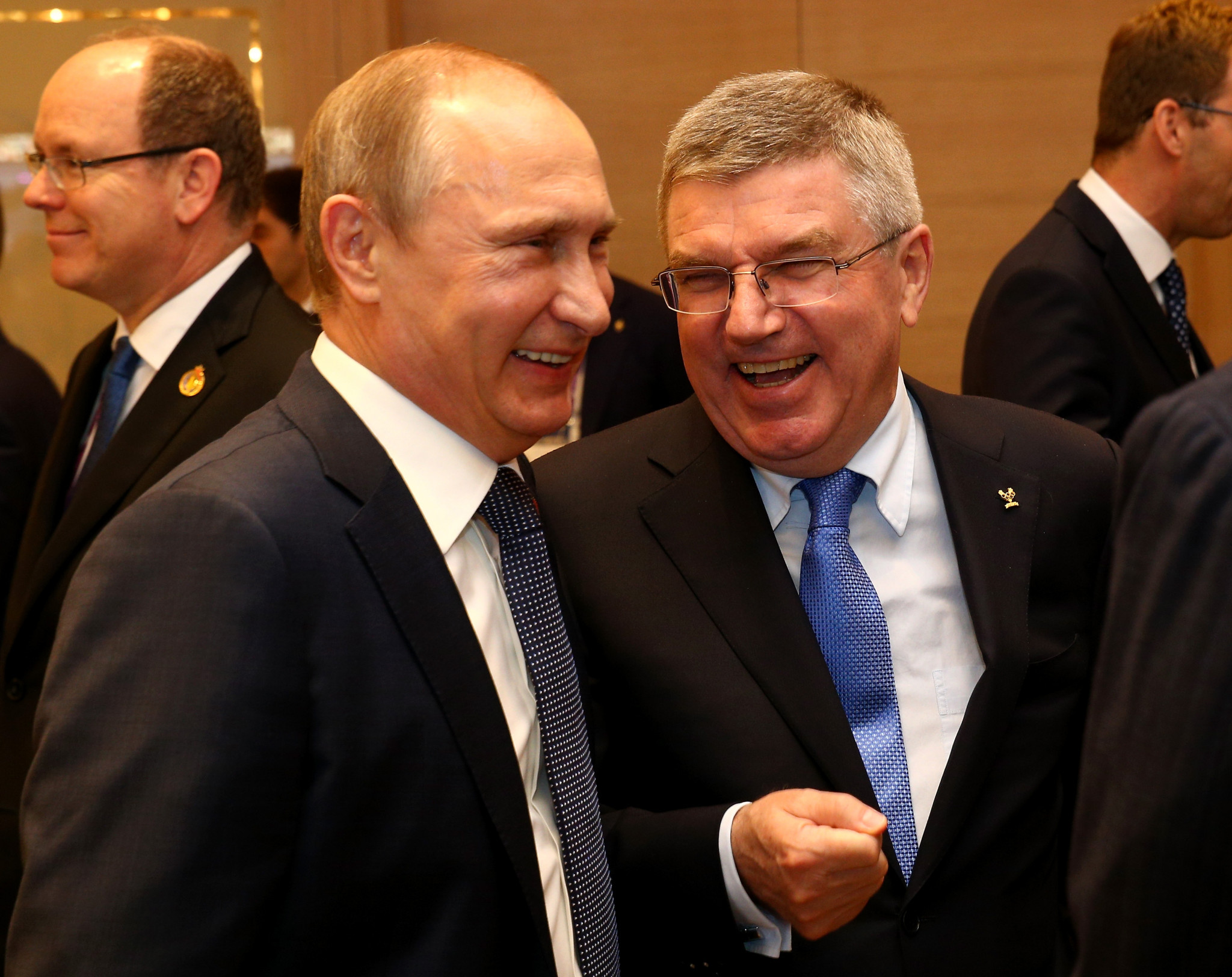 Vladimir Putin, left, pictured with IOC President Thomas Bach ©Getty Images