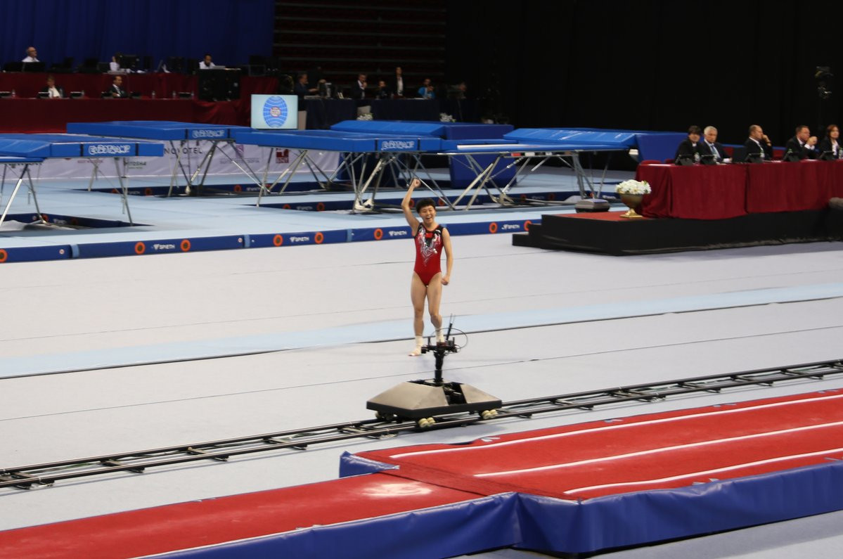 China's Jia Fangfang equalled the record for the number of women's individual tumbling victories ©FIG