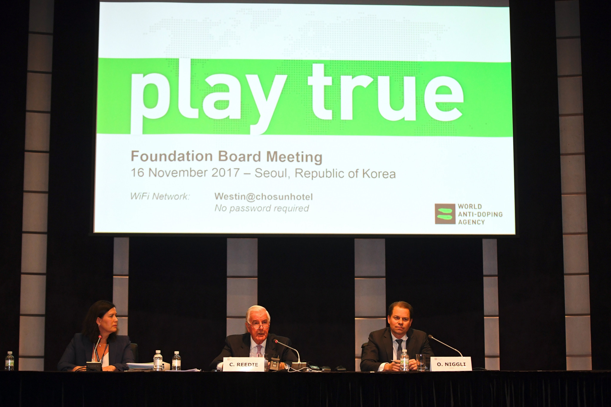 WADA President Sir Craig Reedie, centre, claimed the new compliance code is the result of appeals from athletes ©Getty Images