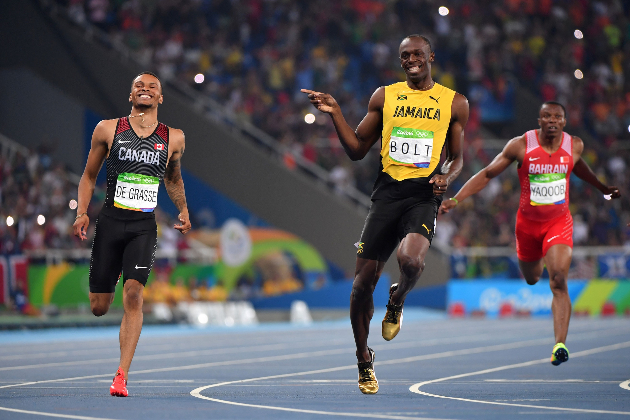 Andre De Grasse finished second behind Jamaican sprint king Usain Bolt in the 200m final at the Rio 2016 Olympic Games ©Getty Images