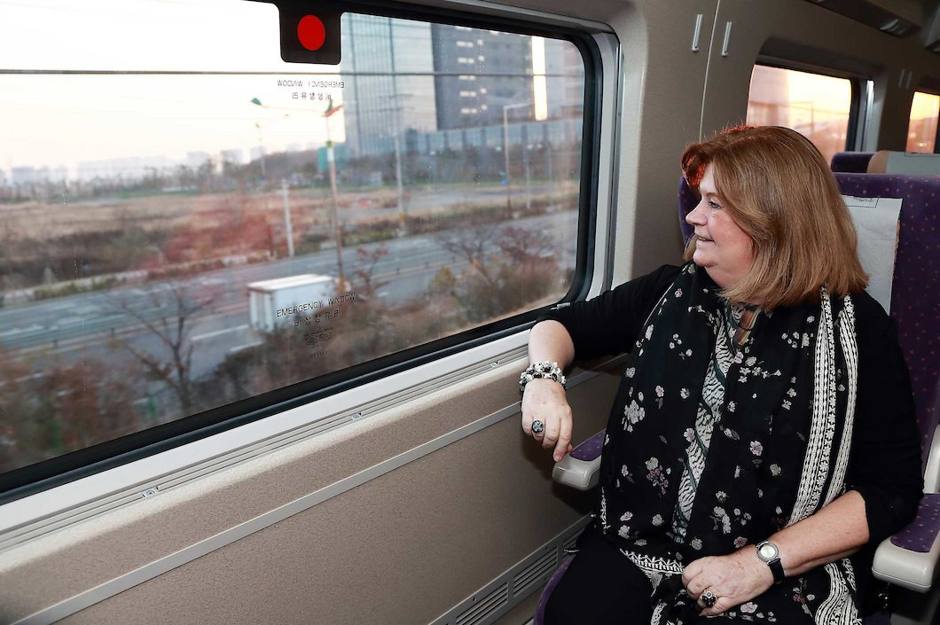 Gunilla Lindberg travelled on the high speed train as the IOC began their final visit ©IOC