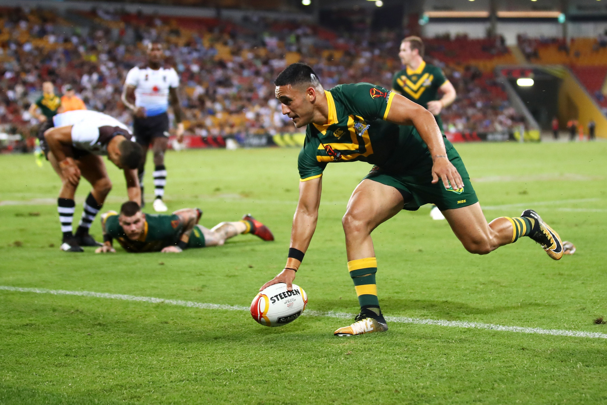 Valentine Holmes became the first man to score six tries in the same game at a Rugby League World Cup as Australia thrashed Fiji 54-6 to cruise into the final ©Getty Images