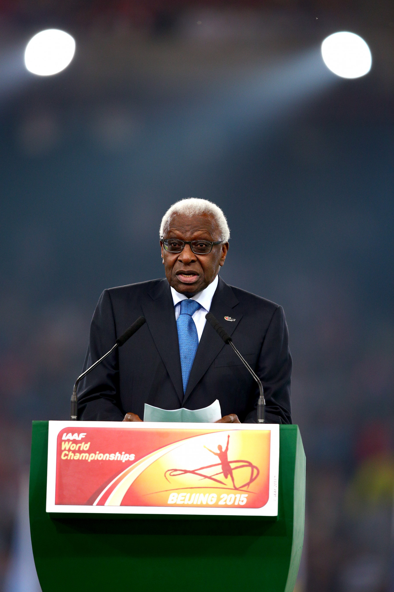 Former IAAF President Lamine Diack is accused of involvement in the accepting of bribes in return for covering up athletics doping cases ©Getty Images