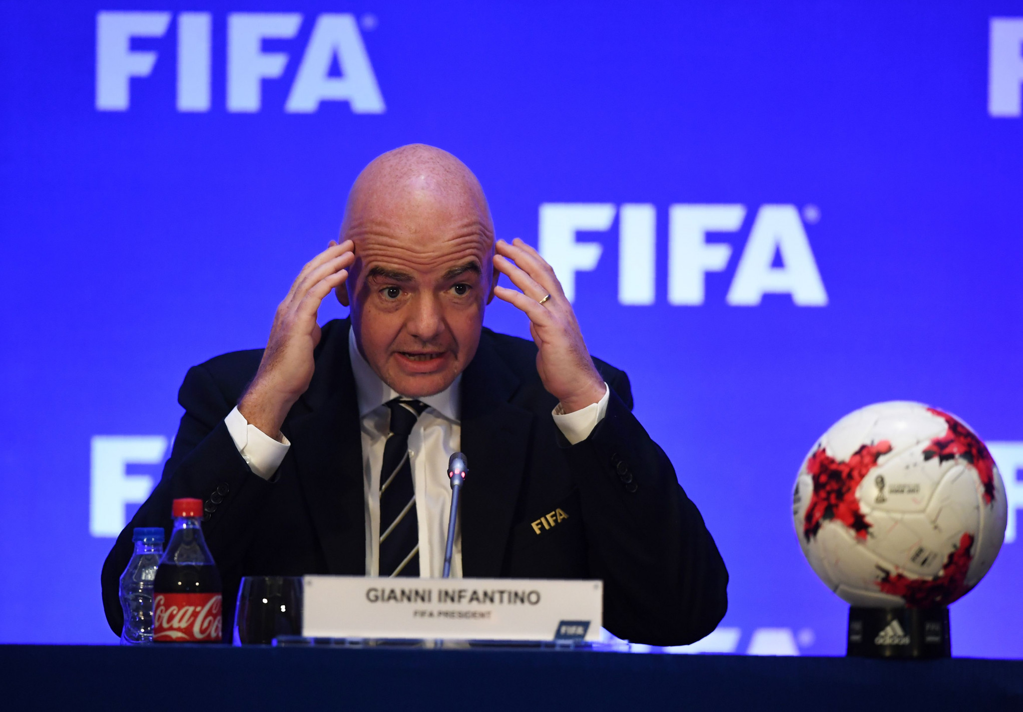 FIFA President Gianni Infantino has said matches at next year's World Cup in Russia could be abandoned by referees due to racism or other discriminatory incidents ©Getty Images