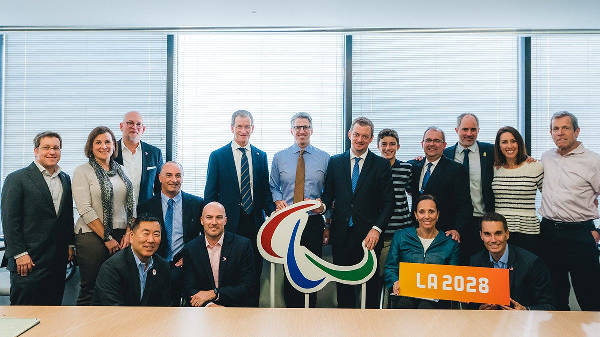 Los Angeles 2028 welcomed IPC President Andrew Parsons to the city with an action-packed agenda ©LA 2028/Twitter