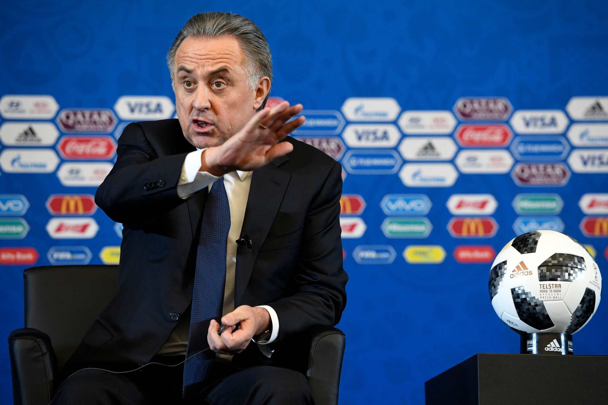 FIFA have claimed there is no danger of Vitaly Mutko being removed as head of the Organising Committee for Russia 2018 even after he was banned by the IOC ©Getty Images