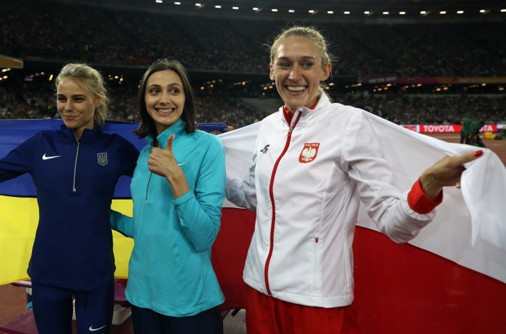 No Russian flag for Mariya Lasitskene as she successfully defended her world high jump title in London this summer - but everyone knows where she comes from...©Getty Images