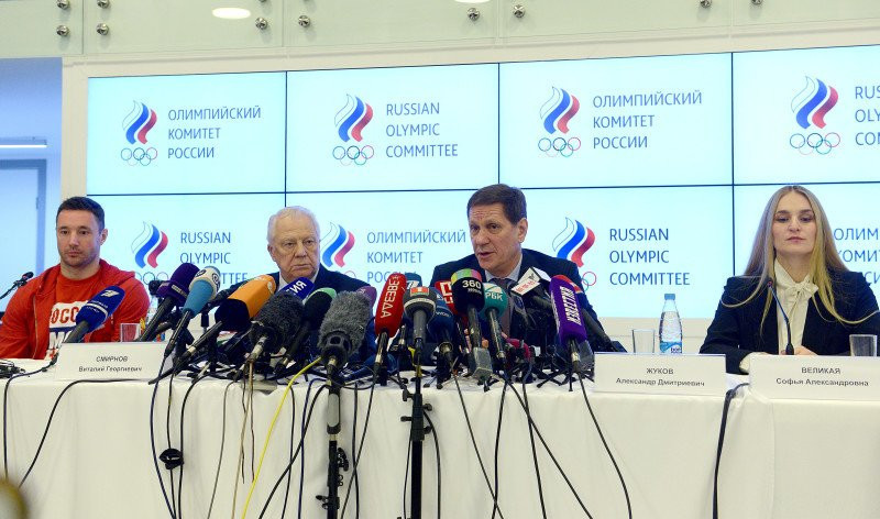 Russian Olympic Committee President Alexander Zhukov, second right, admitted ex-Moscow Laboratory director Grigory Rodchenkov caused
