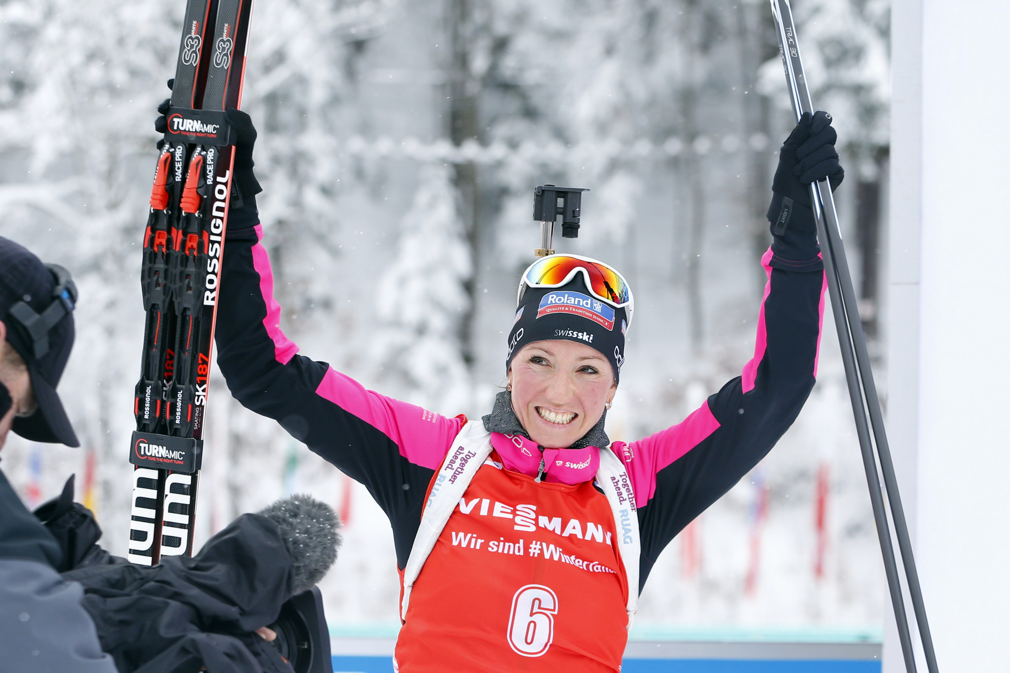Swiss biathlete Selina Gasparin has leaped to the defence of her husband ©Getty Images