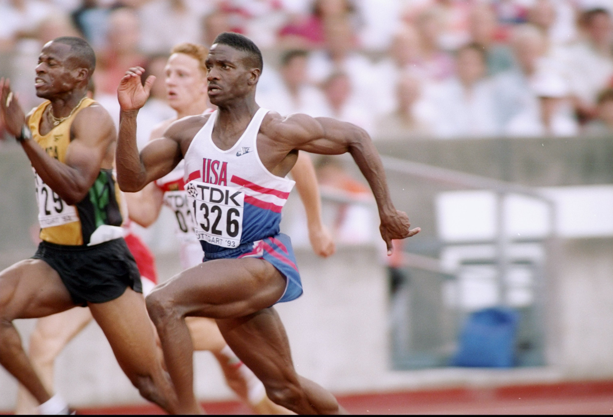 Dennis Mitchell received a two-year ban after failing a drugs test in 1998 ©Getty Images