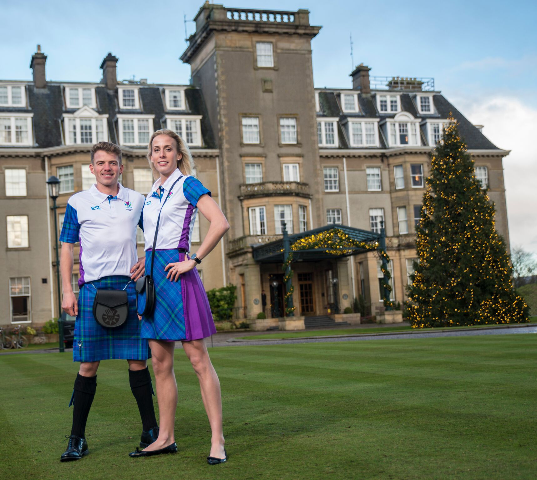 Andrew Butchart and Lynsey Sharp modelled the new uniform at The Gleneagles Hotel ©Team Scotland