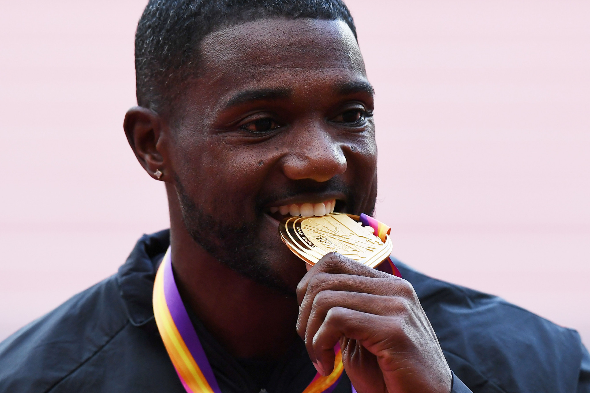 Guilt-free gold? Justin Gatlin, pictured after this year's world 100m victory, says yes. And there is nothing in the Daily Telegraph's undercover operation that offers proof he is wrong ©Getty Images
