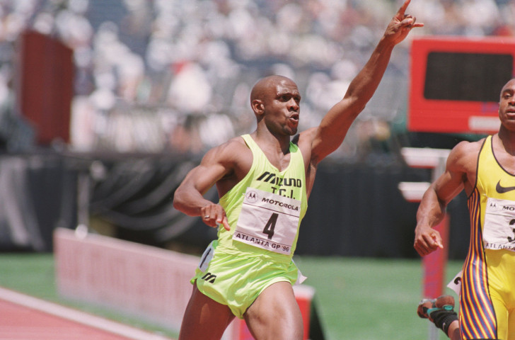 Olympic gold medallist Dennis Mitchell pictured in his competitive sprinting heyday in 1996 - two years before he received a ban for a positive testosterone finding ©Getty Images