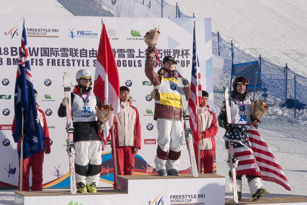 Mikael Kingsbury celebrates a moguls World Cup win today in China ©FIS Freestyle
