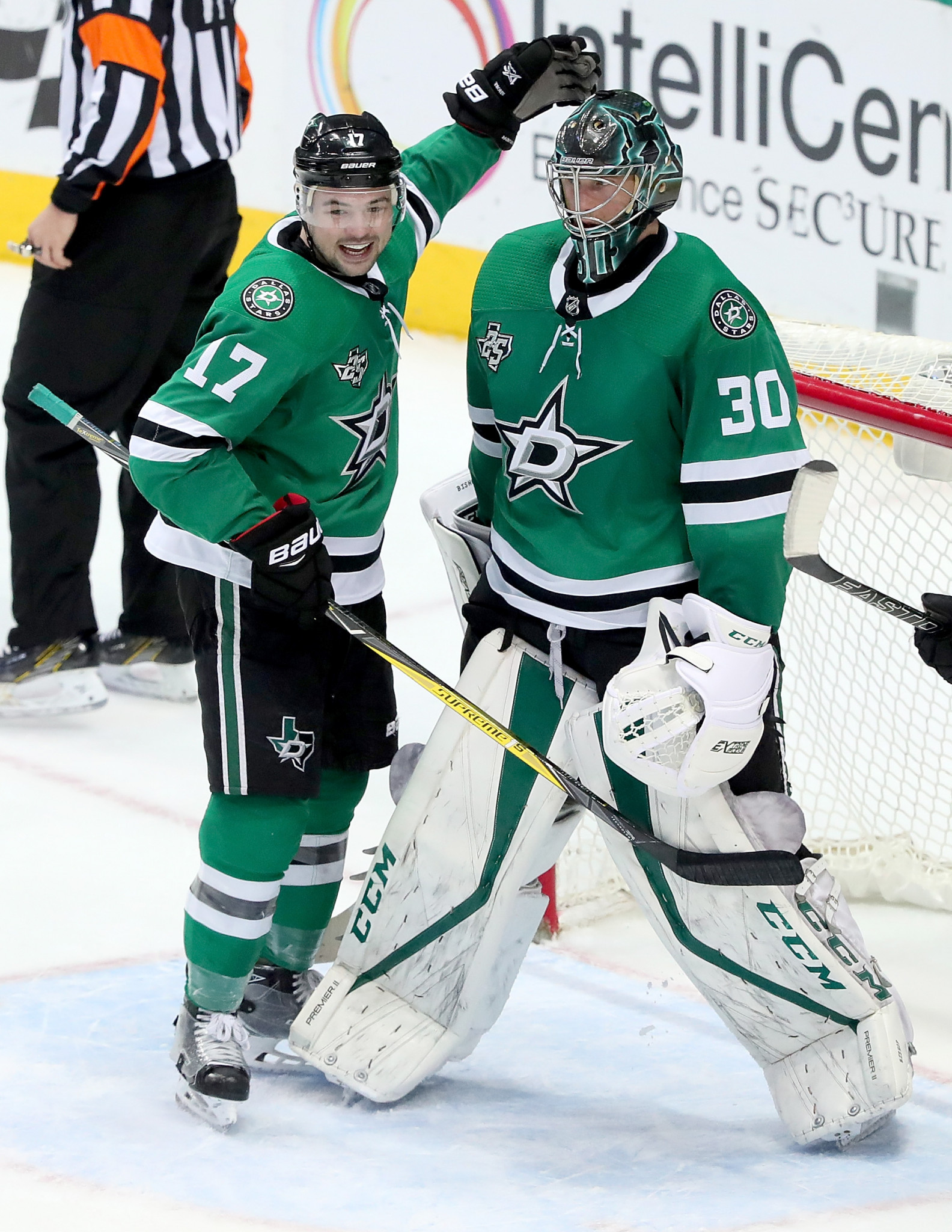 Devin Shore of the Dallas Stars NHL ice hockey team celebrates with team-mate Ben Bishop, number 30, after a 4-0 win over the Chicago Blackhawks this month. Dallas Stars are longtime clients of the MJP Centre in McKinney, Texas ©Getty Images