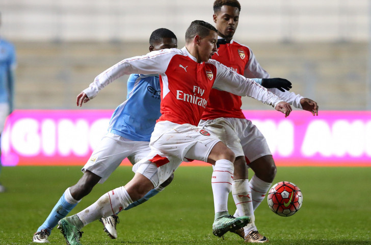 Arsenal players in action during last year's FA Youth Cup semi-final against Manchester City. Michael Johnson has been working with the club's Youth Academy since 2015 working on improving the speed and strength of its players ©Getty Images