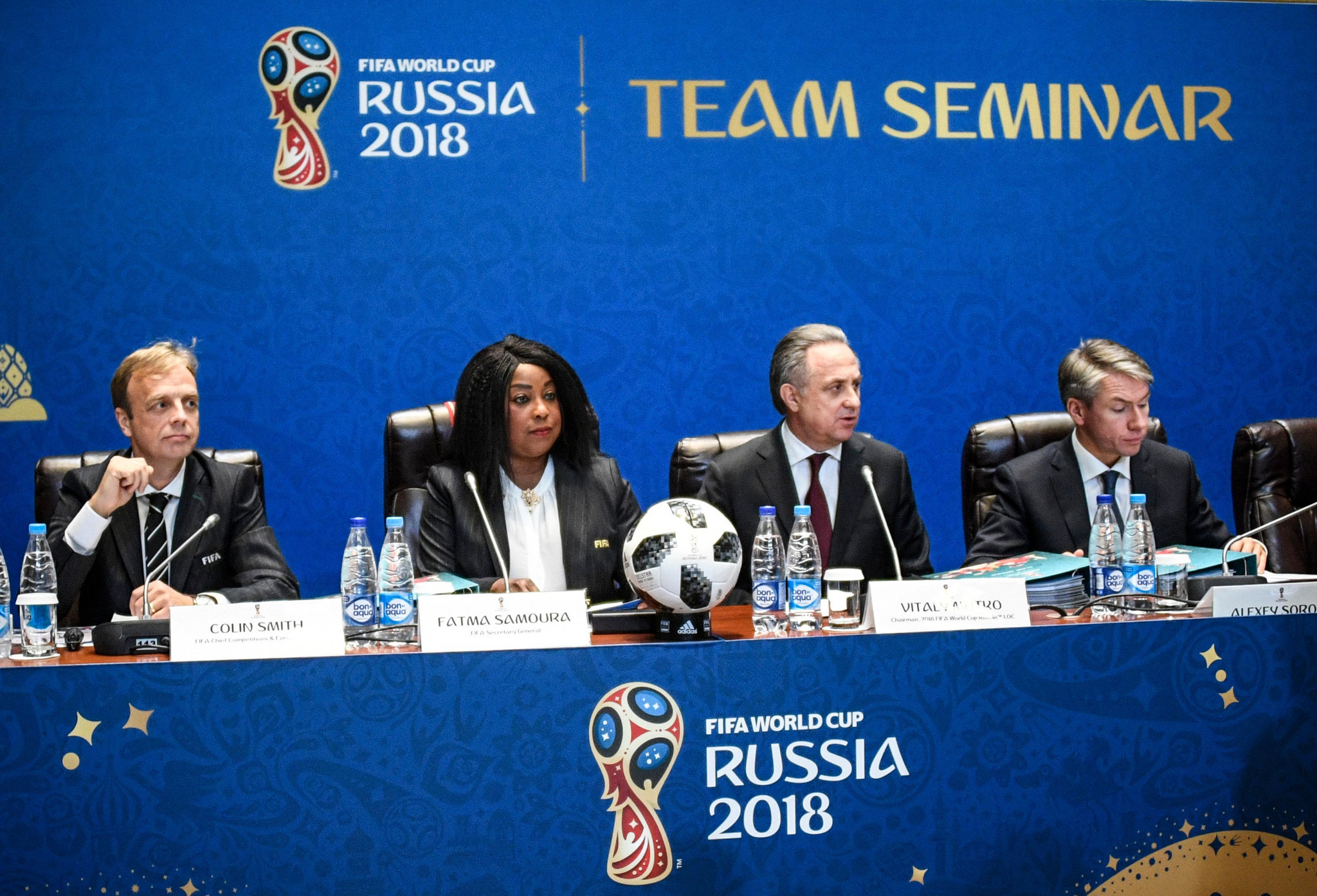 Alexei Sorokin, far right, is now officially the head of the Russia 2018 Organising Committee ©Getty Images