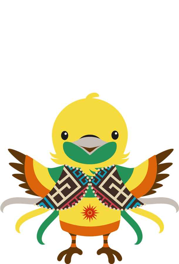 Bhin Bhin is a bird of paradise that represents strategy and the east of Indonesia. Bhin Bhin's clothing of choice is a vest with Asmat pattern details from Papua, a province of Indonesia.