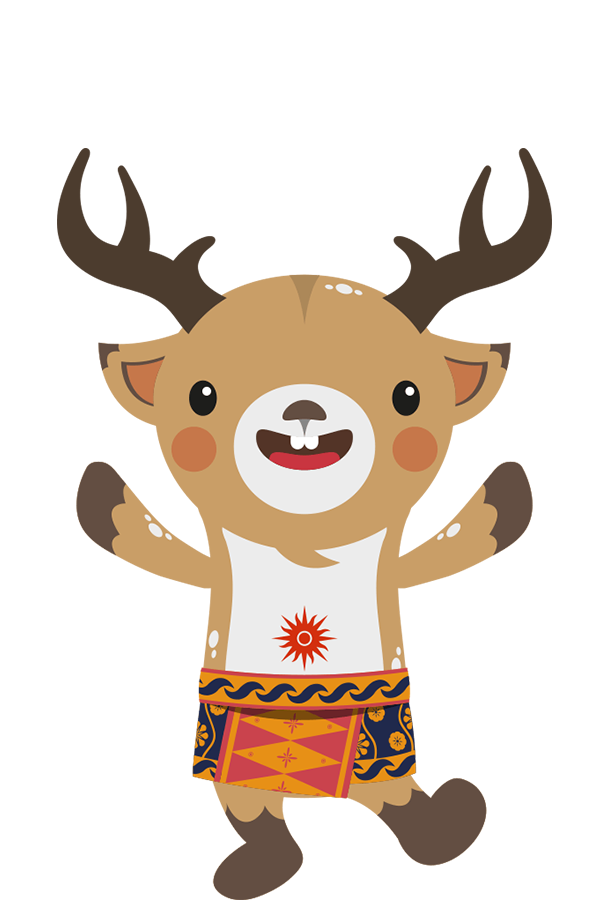 Atung is a Bawean deer that represents speed and the central area of Indonesia.  Atung's clothing of choice is a saroong with Jakarta's batik's tumpal pattern.