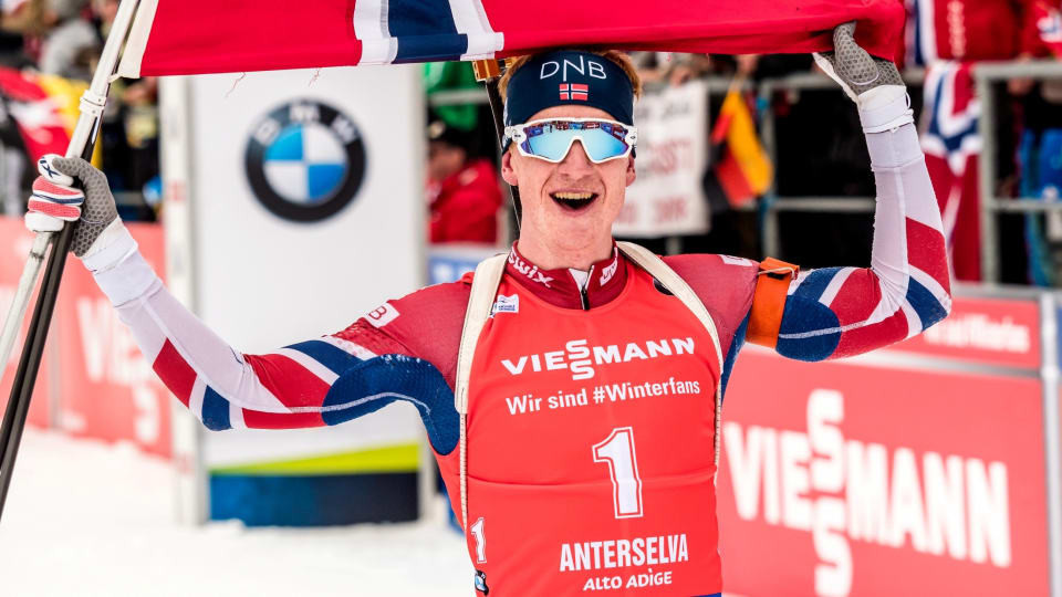 Johannes Thingnes Bø celebrates a second gold at the IBU World Cup event in Antholz ©IBU
