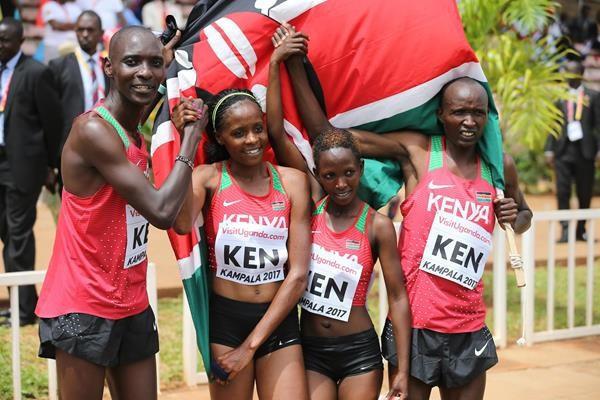 Kenya celebrate a mixed relay win at last year's World Cross Country Championships in Kampala ©IAAF