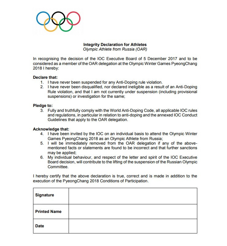The integrity document must be signed by athletes, while a separate form has been created for officials and coaches ©IOC