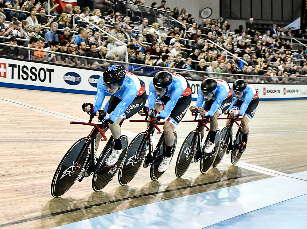 Canada's men's pursuit team will gain confidence for the forthcoming Gold Coast Games having finished second in a World Cup event this season ©CyclingCanada