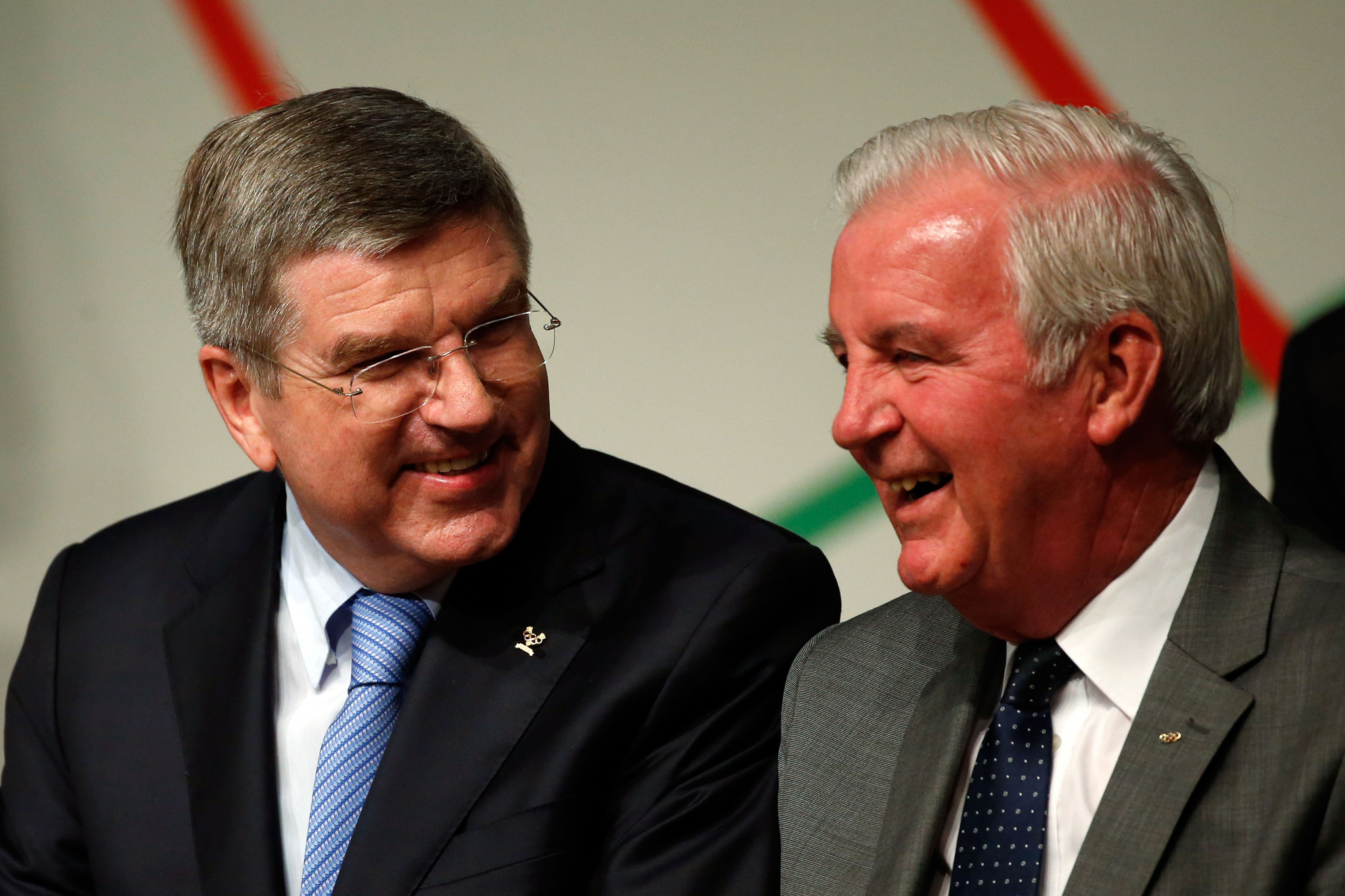 Sir Craig Reedie was reluctant to criticise the way IOC President Thomas Bach, left, has handled the Russia crisis ©Getty Images