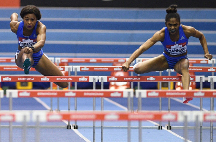 US high hurdlers Sharika Nelvis, left, and Christina Manning, pictured in Birmingham last year, will face each other again in a strong 60m hurdles field at the IAAF Indoor Tour event in Boston tomorrow ©Getty Images
